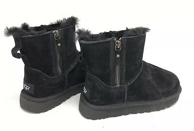 2037167d34d UGG AUSTRALIA CLASSIC Mini Double Zip Black Suede Sheepskin Boots 1018849 6