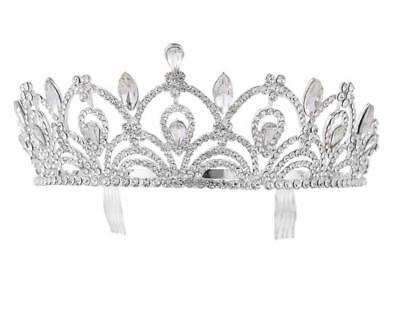 Bridal Teardrop Crown Headband Tiara Comb Crystal Hair Pageant Princess Queen
