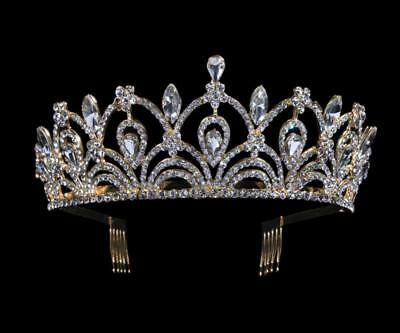 Bridal Heart Crown Head Tiara Comb Crystal Hair Pageant Princess Queen Birthday