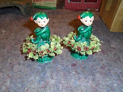 Inarco Japan pixies Elves vintage lot of 2 Christmas X-mas