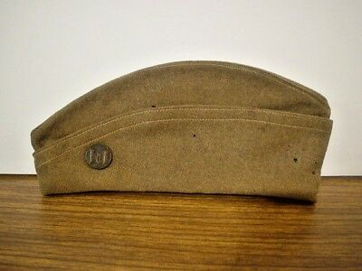 Vintage WW1 US ARMY CAP, Hat, with Collar Pin (Three Castles)