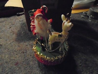Santa Claus wind up vintage music box Santa coming to Town made in Japan