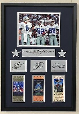 Dallas Cowboys The Triplets Autograph Facsimilie Framed Troy Aikmam Emmitt  Smith 1a681c26b