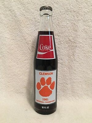 FULL 10oz CLEMSON 1981 NATIONAL CHAMPIONSHIP SEASON COCA-COLA ACL SODA BOTTLE