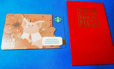 2019 STARBUCKS New Year Card LUNAR *PIG * with sleeve Philippines pin intact