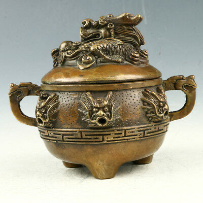Chinese Copper Hand Carved Dragon Incense Burner W Qing Dynasty Mark AAA0074