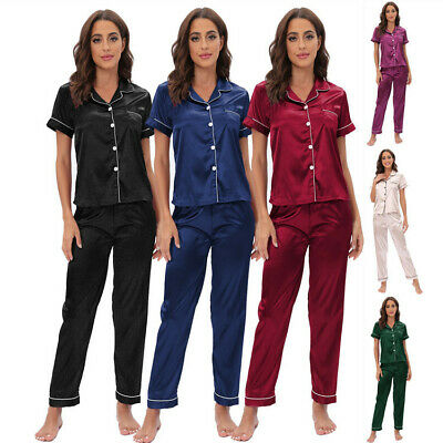 Ladies Satin Pyjamas Sets Summer Womens PJs Shirt Collar Silk Sleepwear Homewear
