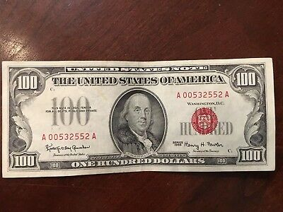 $100 1966 Red Seal US Note Bill  Rare Collection  Good Condition FREE