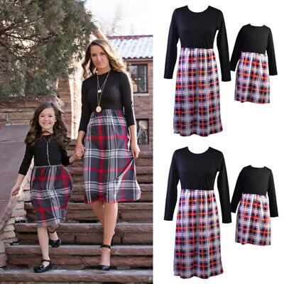 Family Dress Mother Daughter Matching Nine Point Sleeve Plaid Maxi Dress Outfits