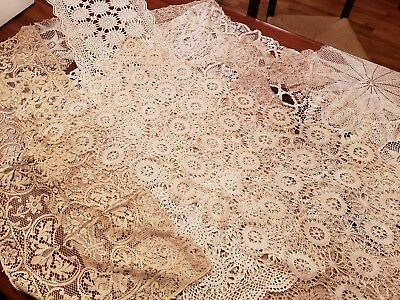 Lot Of 23 Vintage Antique Hand Crocheted Doilies In Various Shapes & Sizes