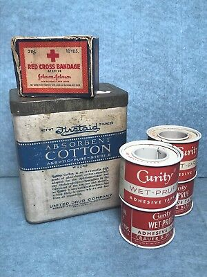 Lot Of 7 Assorted Vintage Medical Supplies, First Aid Cotton, Bandaging, Tape