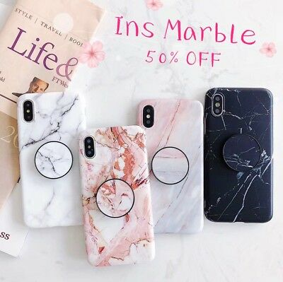 Ins Marble Put Up Holder Soft Case Cover For Apple iPhone 6 7 8 Plus XS MAX XR