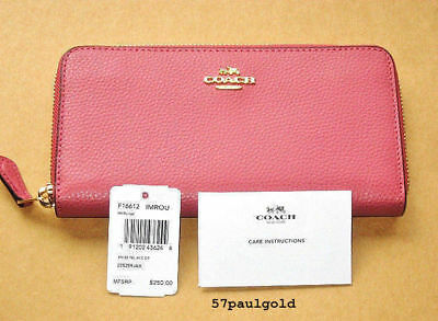 NWT Coach Pebble Leather Accordion Zip Wallet in Rouge F16612 New SALE!!