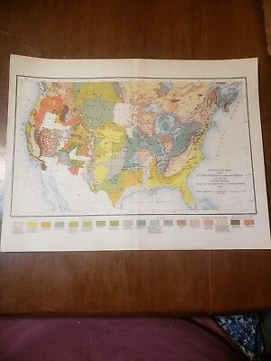 Antique Geological Map Of The United States & part of Canada