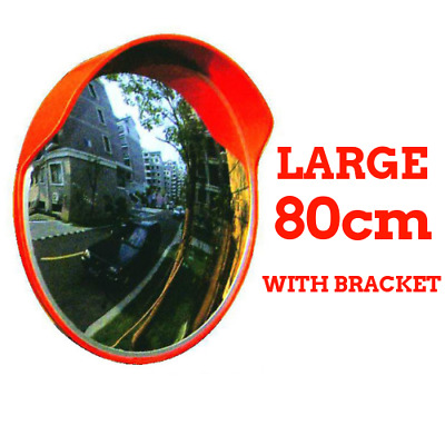 80cm LARGE Round Safety Convex Mirror Blind Spot Traffic Shop Warehouse -Fixings