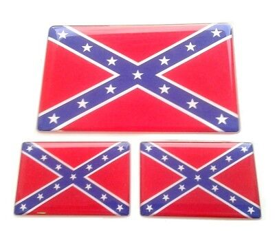 3x Second Confederate Navy Jack Resin Domed Sticker 3D
