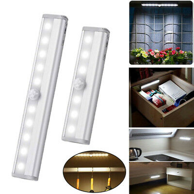6/10LED Battery PIR Motion Sensor Under Cabinet Light Strip Bar Night Lamps Home