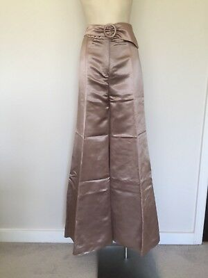 """Women's Vintage """"Designed by Time Sydney"""" 70s Satin Look Flares Tall Rose Gold S"""