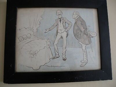 RARE Antique Original signed TOM BROWNE Cartoon double sided orig frame