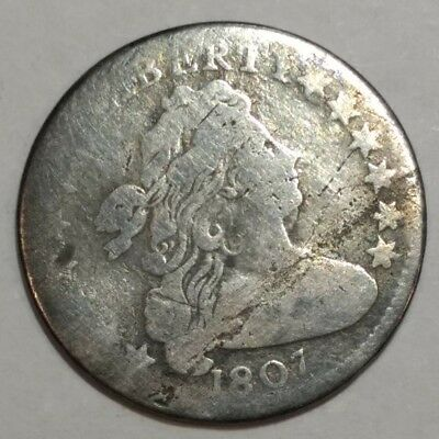 1807 G-VG Draped Bust US silver dime. Scuffy, light lamination.