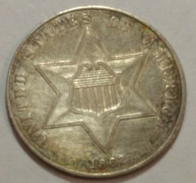 1862 type 3 AU silver three cent piece. 3c