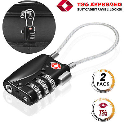2xFor Suitcase Luggage Zipper Backpack Digital TSA Approved Long Cable Wire Lock