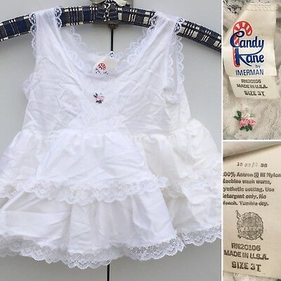 Vintage Candy Kane By Imerman Petticoat Lace Slip Tutu Dress 3T Made In USA