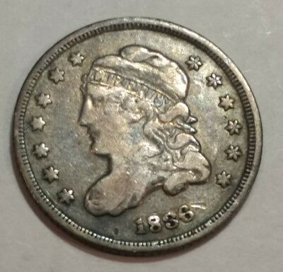 1836 Fine Capped Bust silver US HALF DIME. (Lot#1)