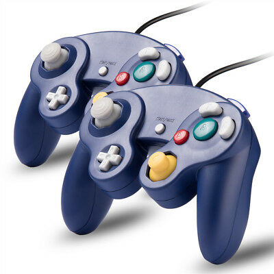 2 x Blue Wired Controller for Nintendo GameCube GC & Wii Console CLASSIC JOYPAD
