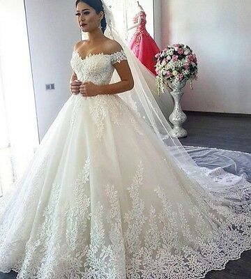 Luxury Lace Ball Gown Sleeve Wedding Dress Illusion Applique Bridal Gown Custom