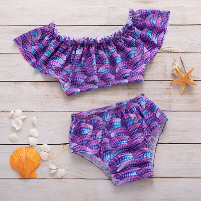 Summer Kids Baby Girl Shells Ruffle Bikini Set Swimwear Swimsuit Bathing Suit