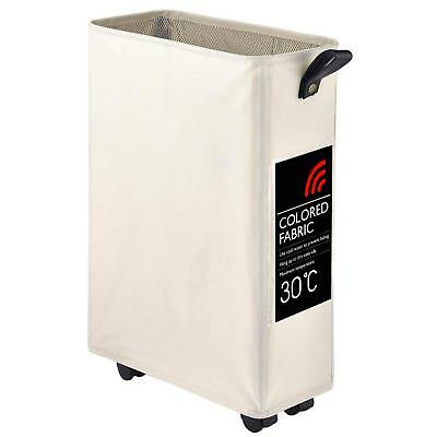 Collapsible Slim Rolling Laundry Hamper Basket Wheels Durable Dirty Clothes Bag