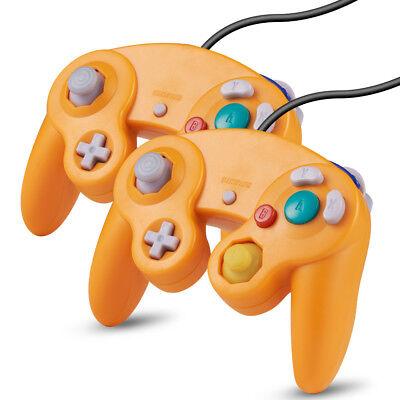 2x Orange Wired Controller for Nintendo GameCube GC & Wii Console CLASSIC JOYPAD