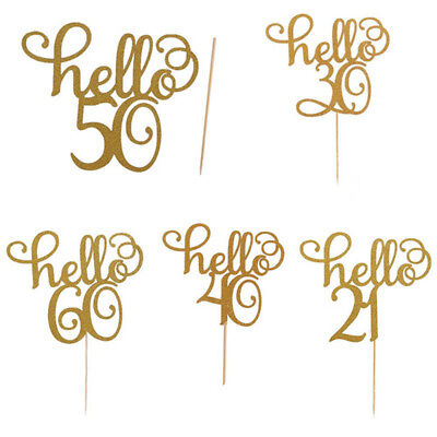 2Pcs Happy 21/30/40/50/60th Cake Topper Birthday Party Cake Home Decoration