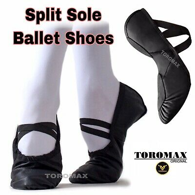 Ballet Shoes, SPLIT SOLE Dance Shoes Black Leather, Child Adult Sizes