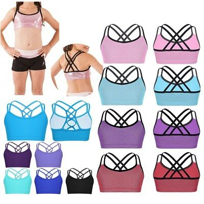 Girls Kids Strappy Crop Top Vest Sports Yoga Gym Bra Tank Top Metallic Underwear