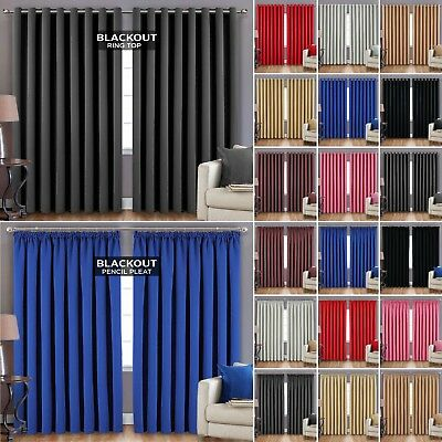 Thermal Blackout Curtains Eyelet Ring Top Or Pencil Pleat Ready Made + Tie Backs