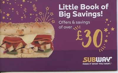 Subway Booklet of 12 Money Off Vouchers up to £30 savings