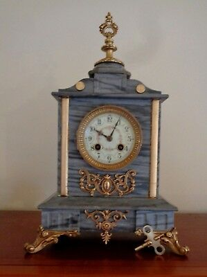 1889 Antique Grey Marble French Mantel Clock by L Marti et Cit movement -working
