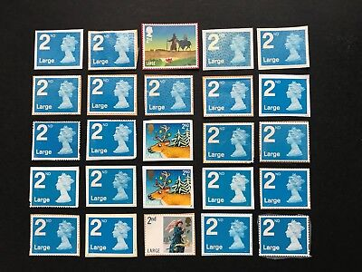 50  x UNFRANKED  'LARGE'  2nd  class stamps on paper  -  Face Value £39.50
