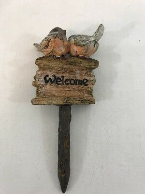"Garden Decor Flower Pot Plant Pick Stake Two Birds & ""Welcome"" Sign 6"""