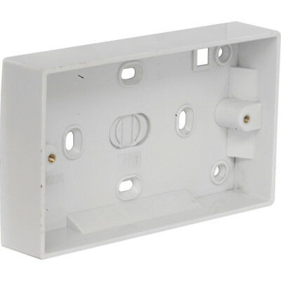 PREMIUM 2 Gang Twin Double Switched Wall Socket 25mm Surface Pattress Back Box
