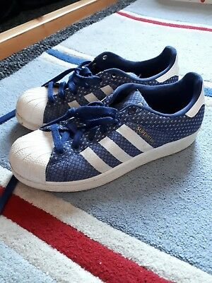 on sale b8548 58777 Adidas Superstar Blue   White Weave Size 5.5 Uk Gold Logo Rare Great  Condition