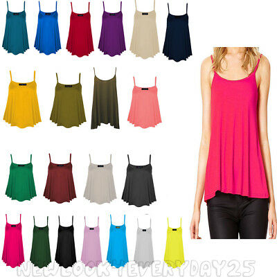 57c62cf0d8 New Womens Plain Swing Cami Vest Sleeveless Top Strappy Ladies Plus Size  Flared