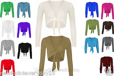 Womens New Plain Bolero Front Tie Shrug Ladies Cropped Long Sleeve Cardigan Top