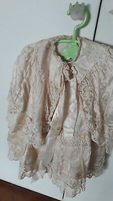 Old 1920's Girl Christening Silk Dress Lace