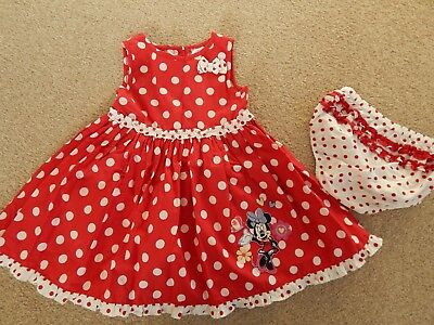 DISNEY baby girls red Minnie Mouse dotty dress size 12 - 18 months