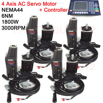 4Axis  AC Servo Motor Driver1.8KW 6NM NEMA44 CNC Controller+3M Cable for Milling