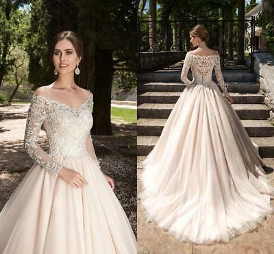 Gorgeous Long Sleeve Off The Shoulder Bridal Ball Gown Lace