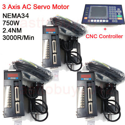 3 Axis CNC Controller NEMA34 AC Servo Motor Kit 2.4NM 750W 3000RPM for Milling